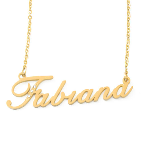 Mothers Day Birthday Cubic Zirconia Gold Tone Fabiana Name Necklace