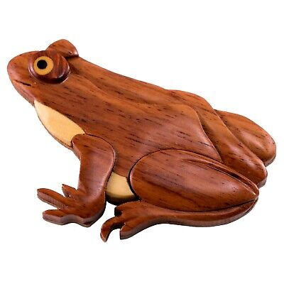 "Wood Intarsia Frog Keychain Key Ring Handcrafted 3.25/"" Long New!"