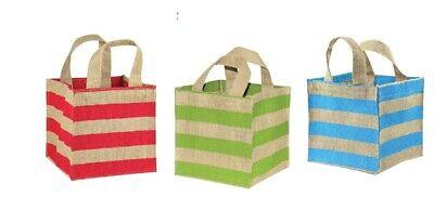 """Jute Plant Tote Bag With Stripes 6"""" X 6"""" X 6"""" De Mondholte Schoonmaken."""