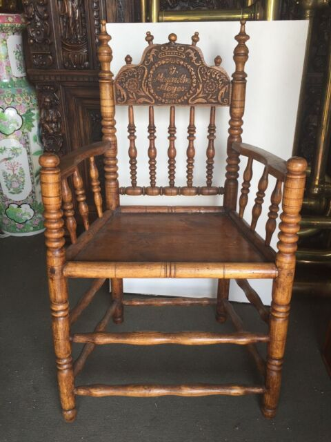 Antique carved Spool Chair dated 1855 Pennsylvania Dutch Meijer - Antique Carved Spool Chair Dated 1855 Pennsylvania Dutch Meijer EBay