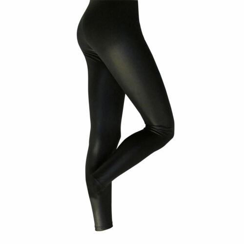 Adults Shimmer Shine Black Leggings Dance wear Theatre M L XL Wet LOOK
