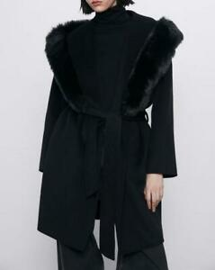 ZARA-BLACK-BELTED-WRAP-OVER-LARGE-LAPEL-WOOL-COAT-WITH-FAUX-FUR-COLLAR-4070-226