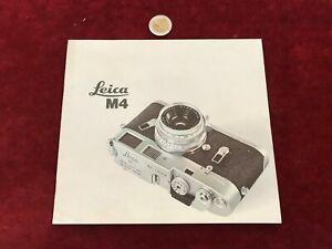 Ancien Catalogue Brochure Matériel Photo N 22 Leica M4