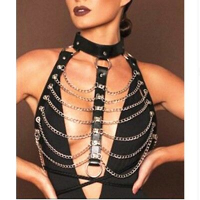 Women/'s PVC Leather Tank Top Bustier Corset Body Chain Harness Tassel Chest Belt