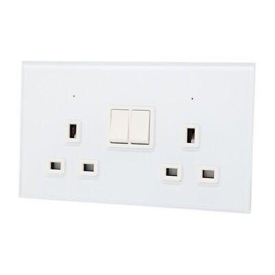 I LumoS Gold Glass /& Gold 16A EU Schuko Plug Single//Double Sockets /& Switches