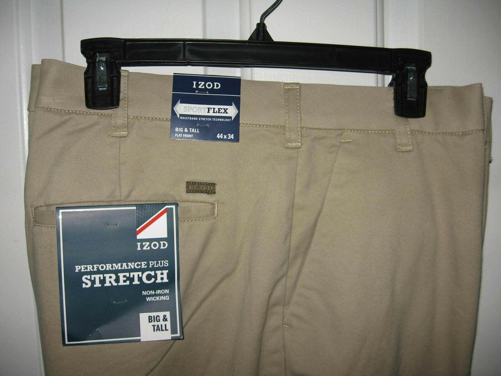 IZOD Mens Big and Tall Performance Stretch Flat Front Pant