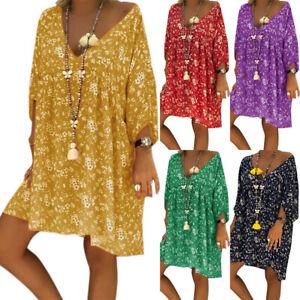 Summer-Boho-Floral-Print-Dress-Women-Long-Sleeve-Deep-V-Neck-Holiday-Beach-UK