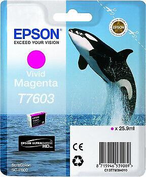 tanica inkjet originale - colore magenta - per Epson SCP600 - 25,9ml - T7603