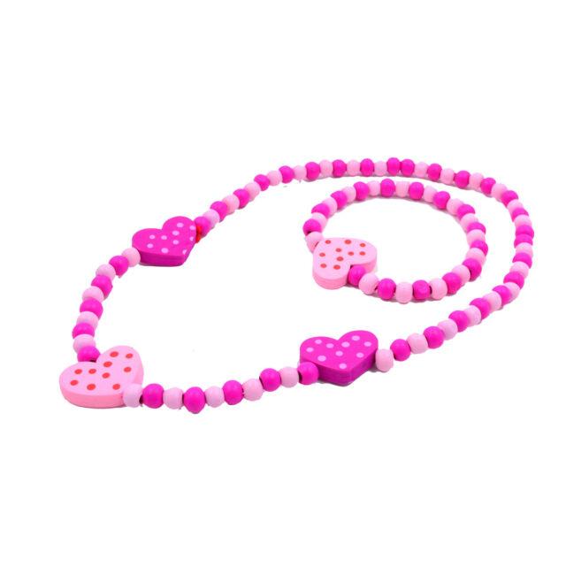 NEW 1Set Girl's Pink Wooden Flower Heart Beads Necklace&Bracelet Jewellery Sets