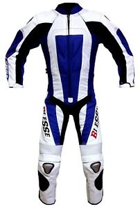 Tuta-Moto-Pitbike-Bambino-Pelle-e-Tessuto-Professionale-anni-5-6-7-8-9-10-12-BLU