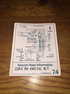 1986 Toyota Pickup/4runner Truck Vacuum Diagram Decal ...