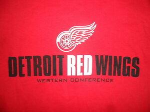 DéTerminé Detroit Ailes Rouges T-shirt Western Conférence Nhl Hockey Neuf Avec Étiquettes
