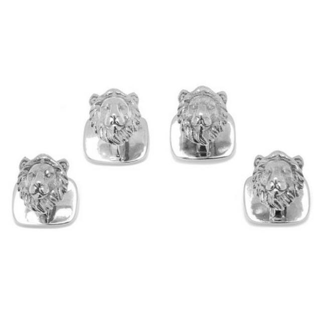 Sterling Silver Lion Head Tuxedo Studs Ox and Bull