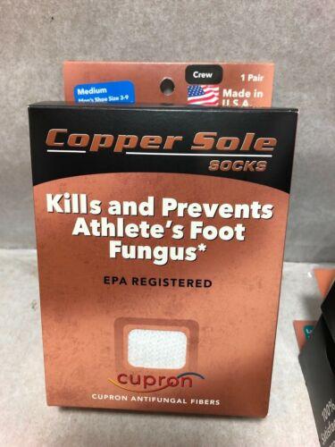 ONE PAIR COPPER SOLE  CREW SOCKS KILLS PREVENTS ATHLET/'S FOOT *FUNGUS* UNISEX