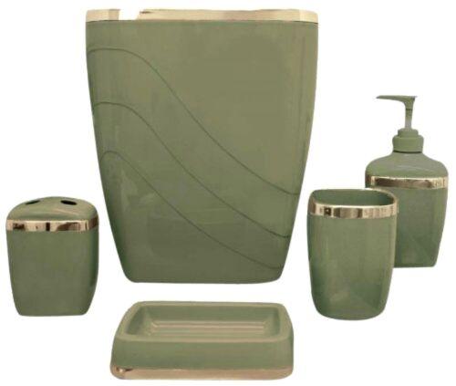 5-Pc Plastic Bathroom Bath Accessory Set Toilet Trashcan Toothbrush Holder Green