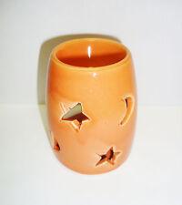"""Duftlampe / Aromalampe """" Mond - Sterne """" Keramik orange"""