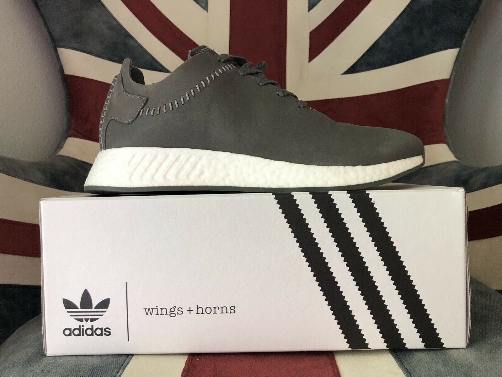 Adidas x Wing & Horns NMD R2  Grey Leather Size 11 Consortium Originals LE.
