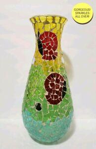 "■STUNNING■ 14"" COLORFUL MOSAIC CUT GLASS BUTTERFLIES OR SNAILS ART VASE, 4.5 LBS"