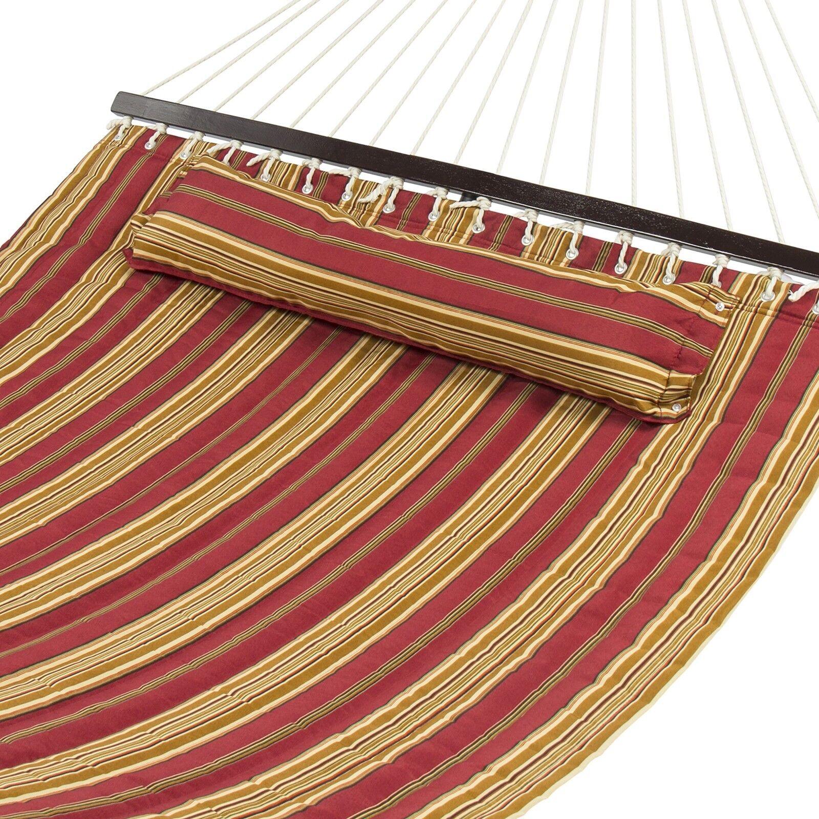 Double Hammock Hammock Hammock 2 Person Backyard Patio Pillow Comfort Sturdy Wood Spreader Bar 4e3891