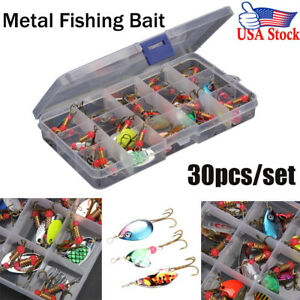 Lot 30pcs Colorful Trout Spoon Metal Fishing Lures Spinners Baits Bass Tackle