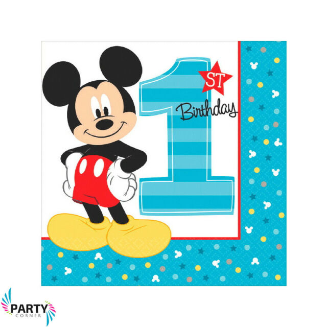 Mickey Mouse 1st Birthday Party Supplies LUNCH NAPKINS Pack Of 16