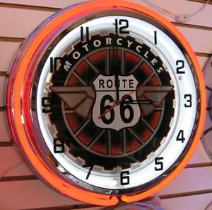 Route-66-Motorcycle-Get-Your-Kicks-on-Route-66-Large-Double-Ring-Neon-Clock-NIB