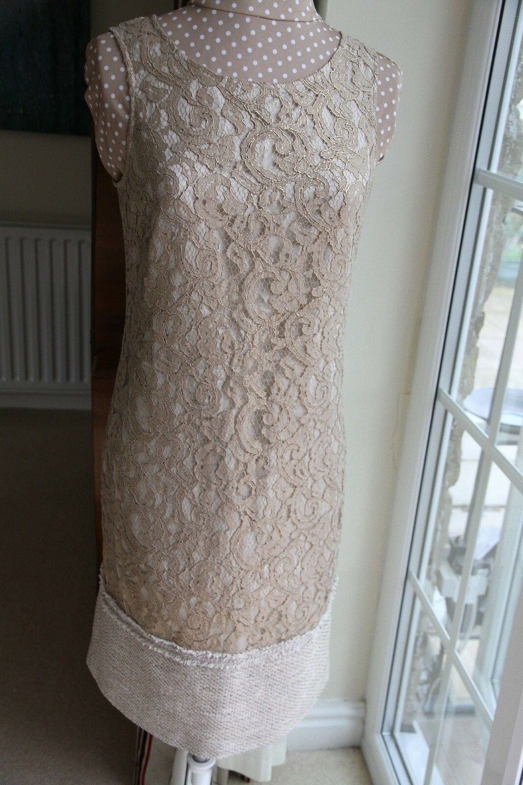 New ESPRIT Unusual gold Beige Lace Lined Shift Dress size 12 sleeveless