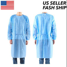 10 Blue Medical Dental Isolation Gown With Knit Regular Size Gowns