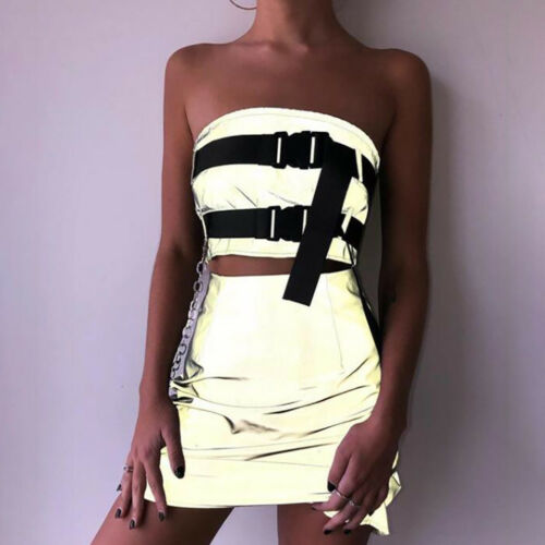 UK Women Reflective Bodycon Two Piece Crop Top and Skirt Set Bandage Dress Party
