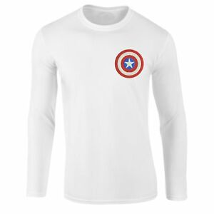 Captain-America-Logo-T-shirt-Superhero-Marvel-Comics-Embroidered-Longsleeve-Top