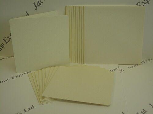Cream Shimmer Textured Round Corner Greeting Card Blank+Env 140x140mm 10Pk AM132