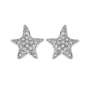 Summer-Sale-1-6Ct-Round-Diamond-14K-Gold-Over-Cluster-Starfish-Stud-Earrings