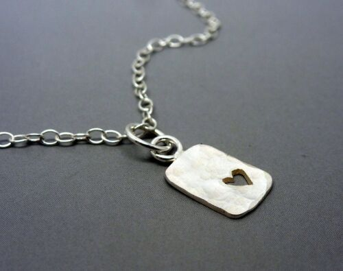 Solid Sterling 925 Tiny Small Cut Out Heart Pendant Silver Heart Tag Necklace