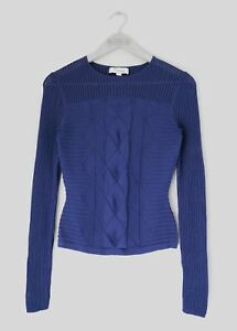 medium Blue Knitted Temperley Pointelle Navy Womens Slim 'acacia' 10 Top uk AwU8qx7P