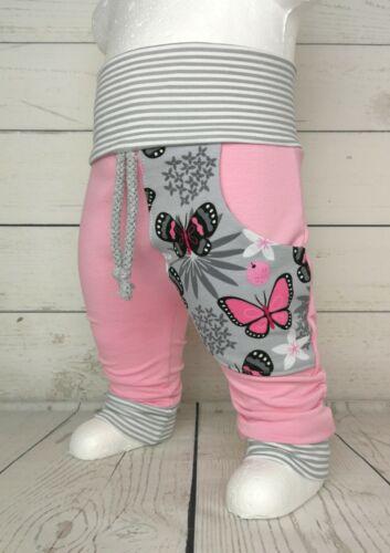 Baby Pumphose mit Tasche Gr.50-104 Schmetterlinge rosa grau handmade