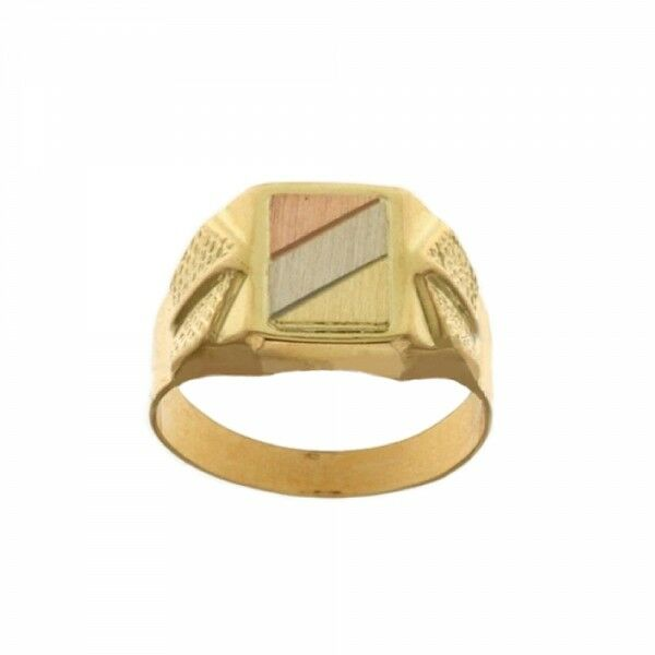 Yellow, white and pink gold 18k 750 1000 man ring