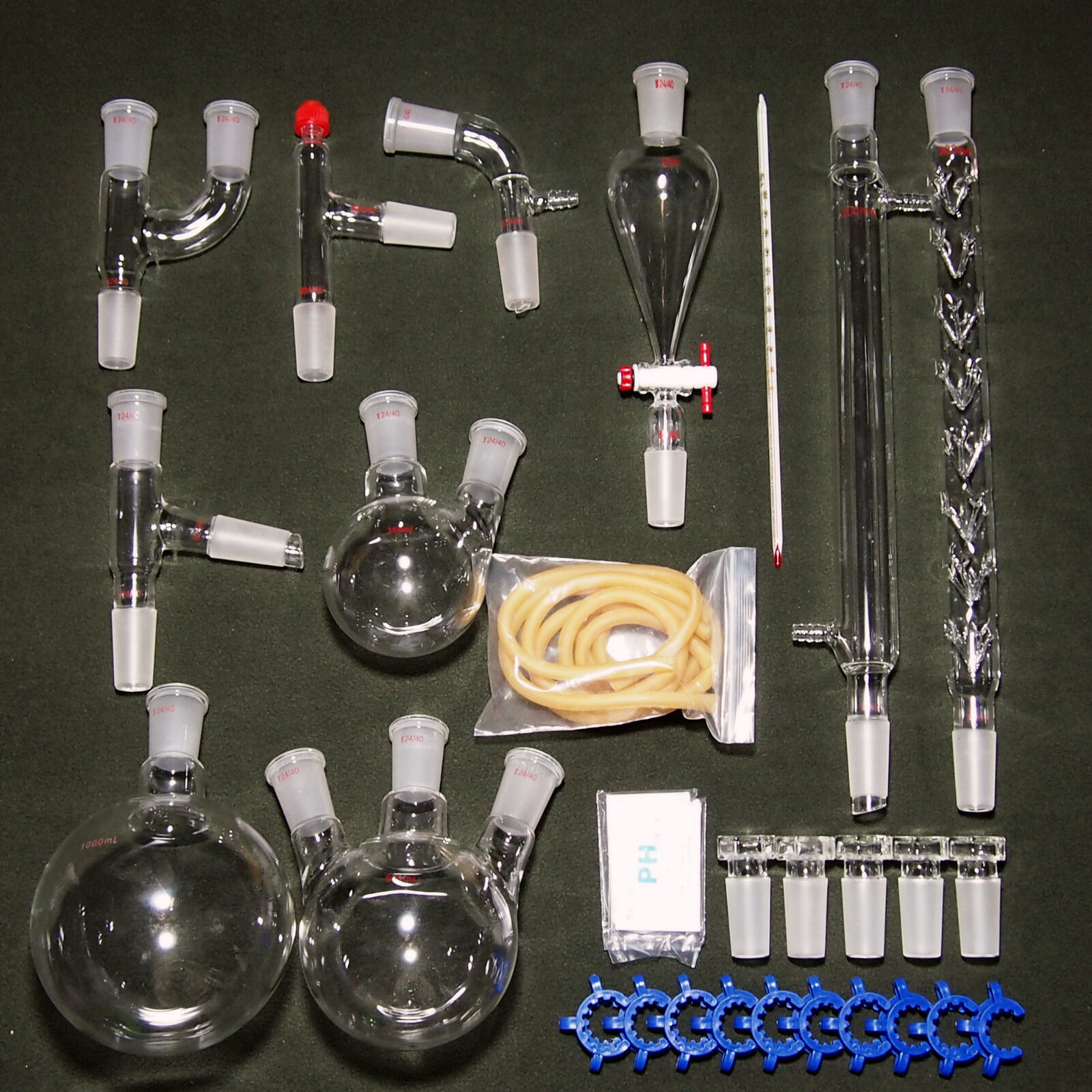 New advanced Chemistry Lab Glassware Kit With 24/40 Glass Ground Joint,29PCS 3