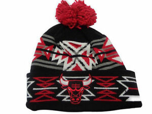 e55fa056 Chicago Bulls NBA Tribal Winter Hat Knit Cuff Beanie PomTop, One Size -  Red/Black