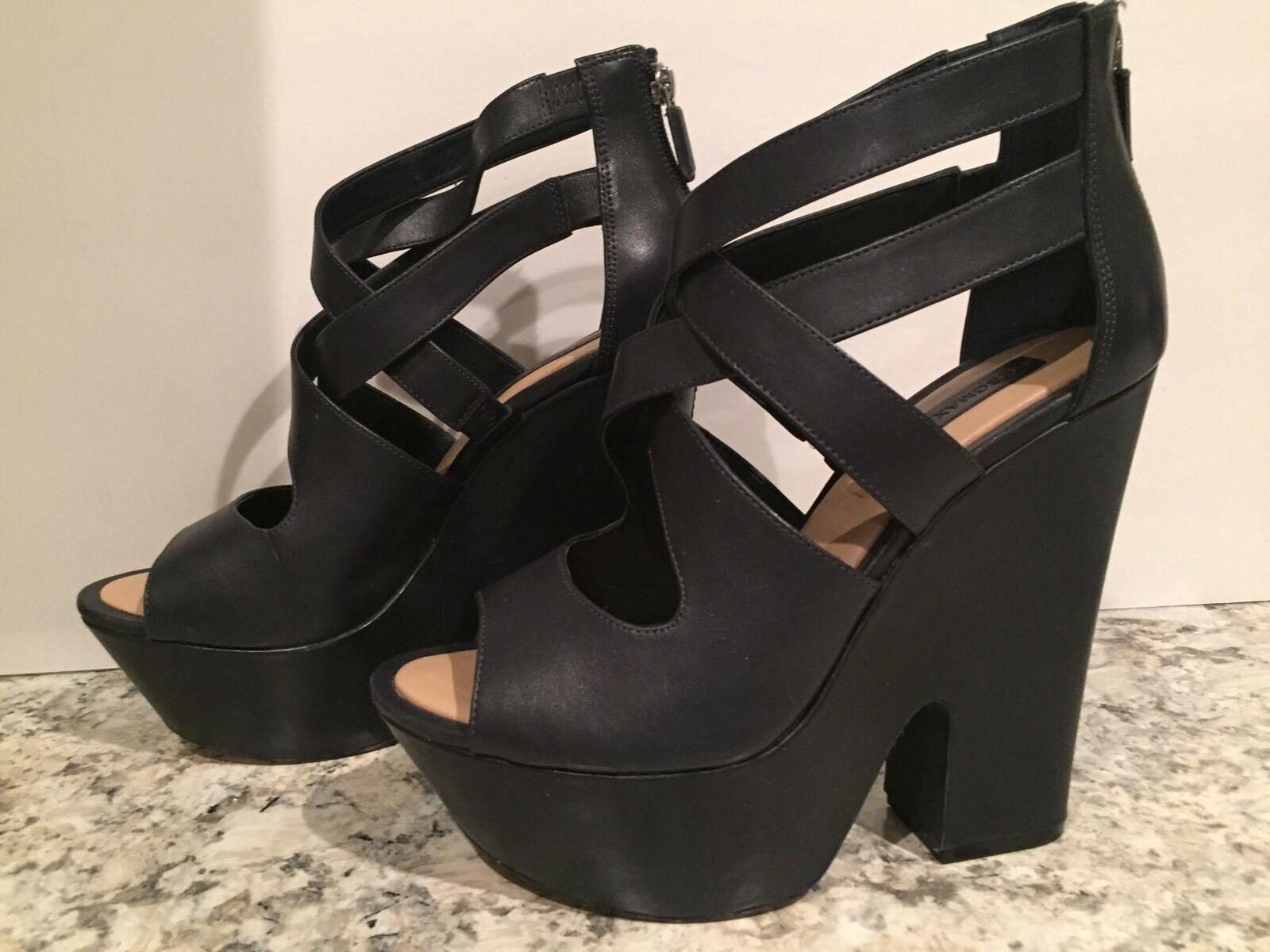 BCBG Max Azria Zoey Sandals Platform Leather Open Open Open Toe Dark grau 10 B 300 & Up a1e79f