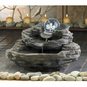 Spinning Orb Layered Rock Table Fountain
