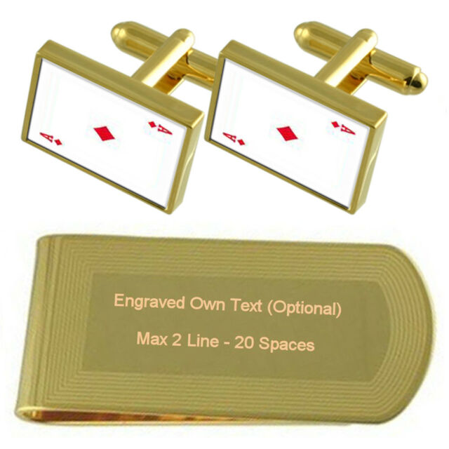 Diamond Playing Card number 2 Gold-tone Cufflinks Money Clip Engraved Gift Set