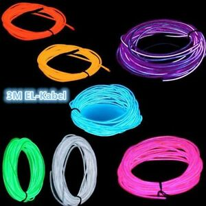 3M EL Neon Kabel Lichtschnur Leuchtschnur Leuchtdraht Wire Licht ...