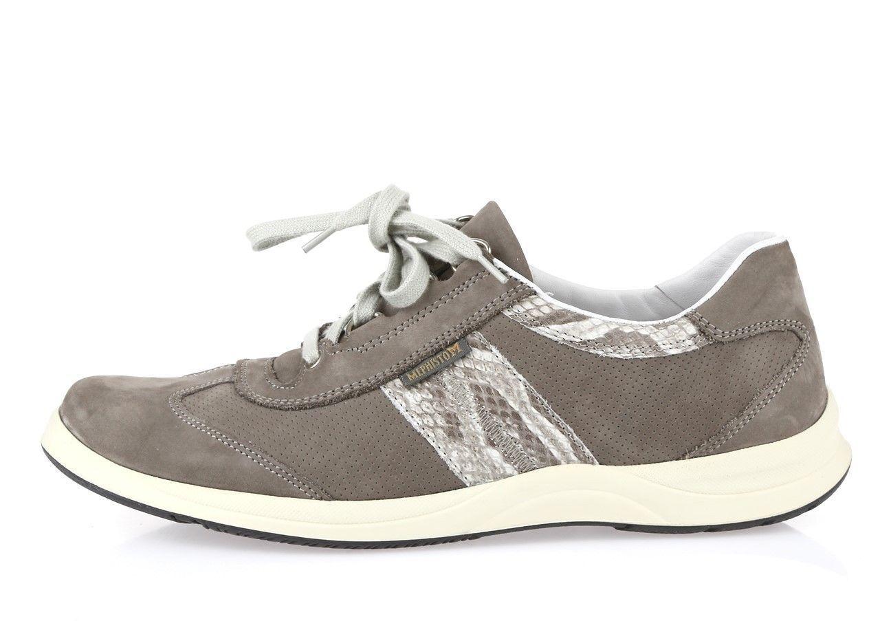 NIB Mephisto Laser Perf Bucksoft Walking Shoe Light Grey Boa Sand Donna Sz 6.5