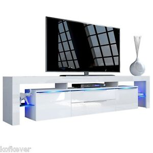 PORTA TV MODERNO LONG ISLAND MOBILE BIANCO LUCI LED X INSERTO E ...