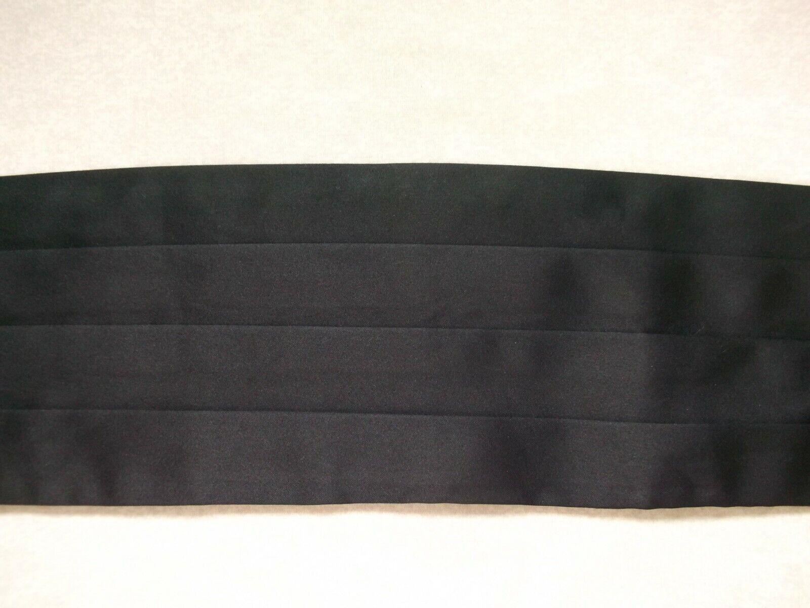 Cummerbund Mens Pleated Sash SOLID BLACK Adjustable up to 42