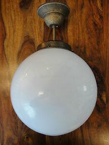 Deckenlampe-Jugendstil-Kugellampe-Antik-Messing-Deckenleuchte-Glas-Kugel-Edel