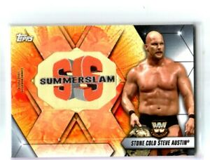WWE-Stone-Cold-Steve-Austin-2019-Topps-SummerSlam-Logo-Patch-Relic-Card