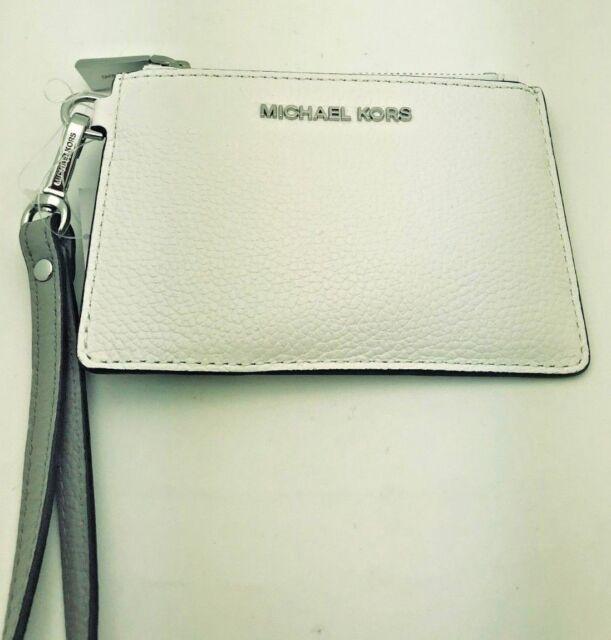 519e763cdd06 MICHAEL KORS Money Pieces Small Coin Purse W/Detachable Strap Leather White  Grey