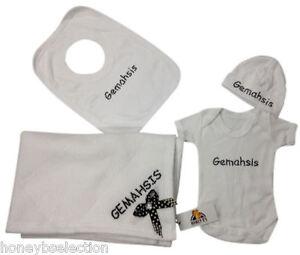 Personalised-Baby-Layette-Set-Baby-Grow-Hat-Bib-Blanket-Boy-Girl-Rhinestone-Gift