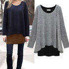 Womens Irregular Long Blouse Shirt Loose Tunic Sweater Pullover Tops Plus Size